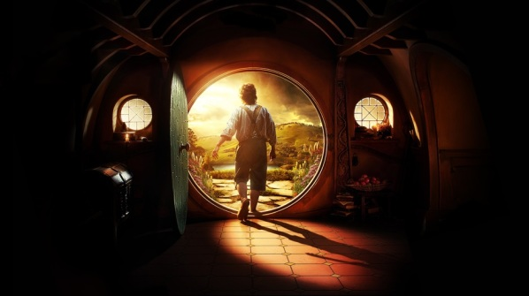 Bilbo exiting his hobbit hole