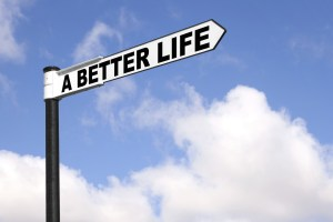 Signpost pointing to A better life